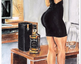 JEREMY WORST Sinatra Select jack daniels Signed Print sexy pin up bar wall art artwork clock standing figure hair wig