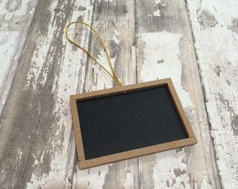"Set of 6 Wood Framed Chalkboard Tags, 2"" X 3"""