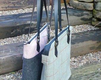 Tote Bag, Wool Tweed Tote, Handbag, Shoulder Bag, Zip top tote, grey pink tote, green red tote