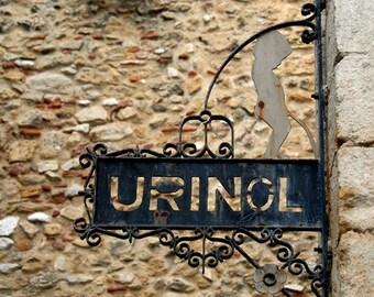 Color Photograph, Urinol, Lisbon Portugal, Funny Bathroom Sign