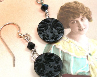 1800 Antique BUTTON earrings, Victorian black glass with leaves & berries on silver. One of a kind jewellery.