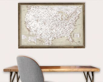 Push Pin Map USA Map Print United States Travel Map Personalized Wedding Gift for Couple Travel Gift for Him Travel Gift Him Travel Gift Map