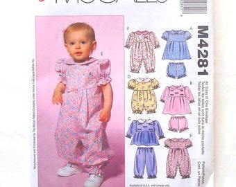McCall's Infants' Sewing Pattern #M4281-Sizes S(6 Mo)+M(9 Mo)+L(12 Mo)+XL(18-24 Mo)-Dresses, Panties, Top, Pants, Romper & Jumpsuits - UNCUT