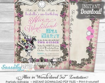 Alice in Wonderland Invitation / Pink Harlequin / INSTANT DOWNLOAD / Partially Editable & Printable / Birthday Party Invite / Tea Party