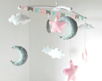 Baby Mobile * to the moon mobile * nursery decor * personalized clouds theme