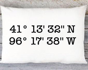 Longitude and Latitude Pillow Cover / Custom Pillow / Coordinates Pillow / Location Pillow / Lumbar Pillow / Wedding Gift / By Aldari Home