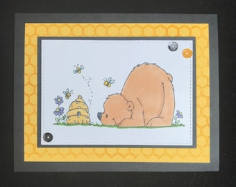 Enjoy Your Day Bear & Bees Greeting Card