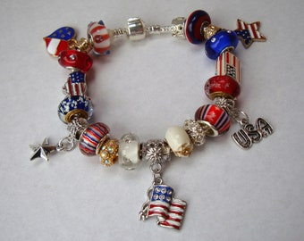 USA Stars and Stripes European charm bracelet Murano red white blue beads crystals American Flags You pick chain size Help save a cat/kitten