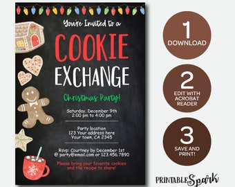 Instant Download Cookie Exchange Invitation, Bakery Birthday Party, Christmas Printable Invitation, Edit Yourself!