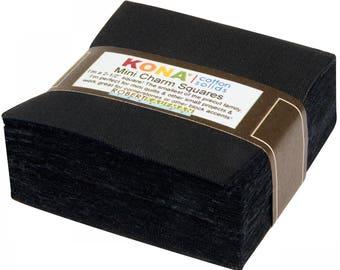 2.5-inch Mini Squares Kona Cotton - All Black - 84pcs