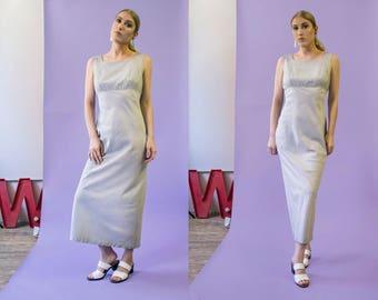 90s Han Feng grid print silk maxi dress | size small