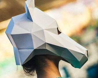 Paper Halloween Horse Mask, Papercraft Template, Printable Mask, DIY instant download