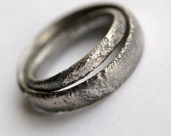 Rustic Wedding Bands Set - Oxidized Sterling Silver Matching Rings