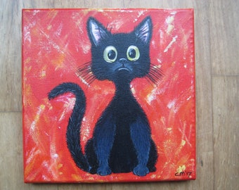 """Painting """"Cute kitten"""" with red or yellow background"""