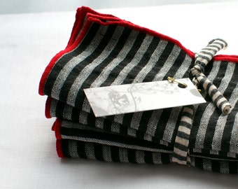 striped napkins  red, black and white 100% linen  set of four