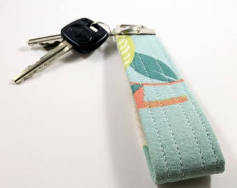 Floral Key Fob- Green Muted Modern Floral