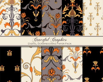 Scrapbook Paper Pack Digital Scrapbooking Background Papers DAMASK 10 8.5 x 11 Gold Orange Gray Black White Tapestry 1606gg