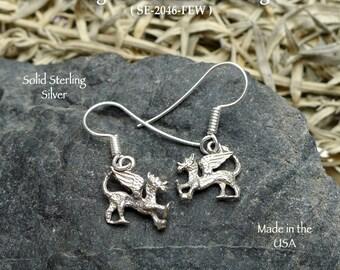 Sterling Dragon Earrings, Small Griffin Earrings - Fantasy Jewelry SE-2046-FEW