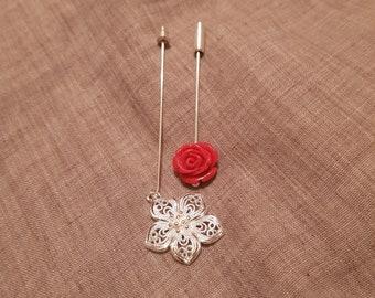 "2 pcs Hijab Pin Set ""Silver garden"""