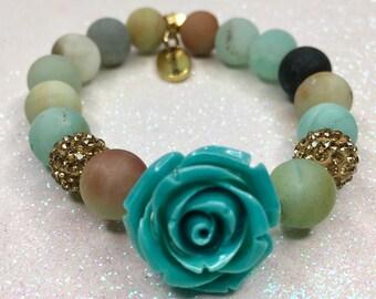 Teal Rose Bracelet