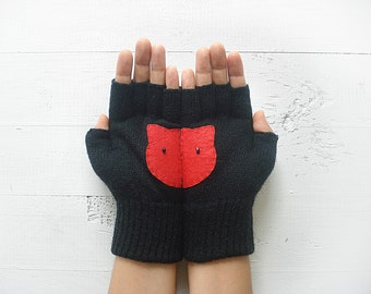 Cat Gloves, Pet Lover Gift, Mother's Day Gift, Cat Lover Gift, Gift For Her, Gift For Mother, Women Mitten, Fingerless Mitten, Cat Gift