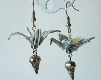 Handmade Origami Earrings with Cranes of Happiness Traditional Japanese Washi Paper Silver Blue Yellow Ice Cream Delicate