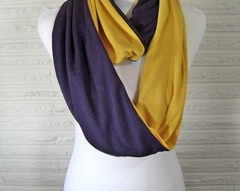 LONG Purple and Gold Yellow colorblock Infinity Scarf - School Colors, Team Spirit, soft medium weight Jersey Knit - Lakers Ravens Vikings