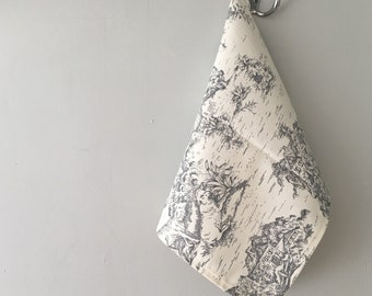 Farmhouse tea towel gray french toile fabric