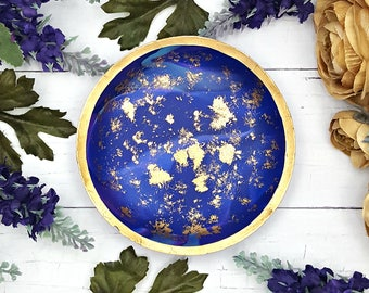 Cobalt Blue Marble Jewelry Dish, Catchall Dish for jewelry, Paper clip holder, Ring holder dish, Ring Dish Holder for key, Ring dish marble,