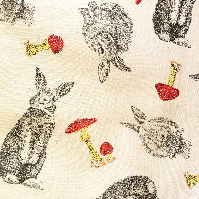 Hase Kaninchen & Fliegenpilze Hase Stoff Land-Stoff Tier