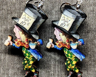 Mad Hatter Earrings / Handmade Earrings / Laser Cut Wood Earrings / Alice in Wonderland Earrings / Book Illustration / Nickel Free