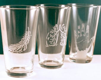 2 Etched Pint Glasses - YOUR CHOICE