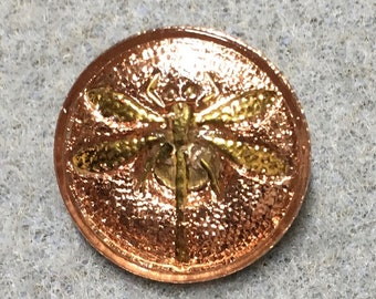 Peachy Pink Rose Gold Dragonfly Czech Glass Button with Gold Detail with Metal Shank 18mm