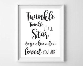 Twinkle Printable Nursery Wall Art,Printable Typography,Printable nursery,Twinkle Stars Baby Nursery,Black and White Nursery,Modern Decor
