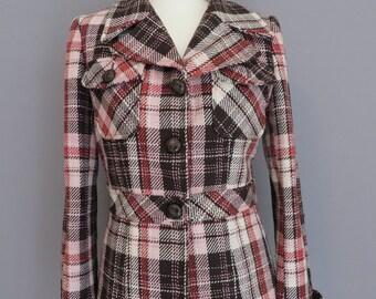 Vintage 1970s style woman cheked jacket small/medium