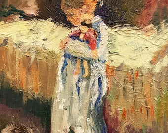 """Girl w Doll 8""""x10"""" Oil Painting Print Signed Limited Edition Art by Artist Home Decor"""