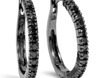 Black Diamond Hoops 10K Black Gold 1/2CT Black Diamond Hoops 10K Black Gold