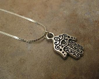 hamsa necklace, hamsa jewelry, hamsa hand necklace, hamsa pendant necklace, antique silver charm, 18K white gold plated chain