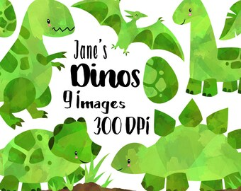 Watercolor Dinosaurs Clipart - Green Dinosaur Download - Instant Download - T-Rex Brontosaurus - Triceratops - Stegosaurus