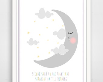 Children's Wall Art / Nursery Decor / Kids Room Second Star To The Right and Straight On Till Morning... print by Finny and Zook