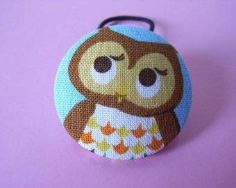 Shy little Hoot- Extra Large Japanese Owl fabric button 39mm