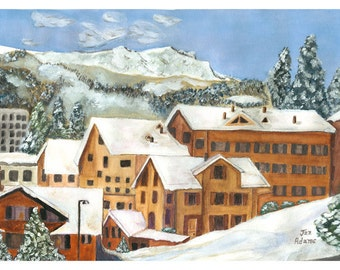 GRINDELWALD SWITZERLAND Juried Show Winter City Village Watercolor Swiss Alps Skiing Town Europe Grindlewald  European Ski Mountains