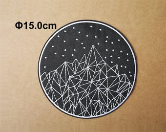 Mountain and Star, Geometric patches, Embroidery patch, Embroidered patches, Iron on patches, Sew on patch, WS-185