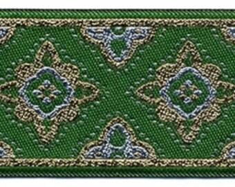 """10 Yard Lot - 1 7/8"""" Green Gold Silver Star Medieval Fabric Trim (L3021)"""