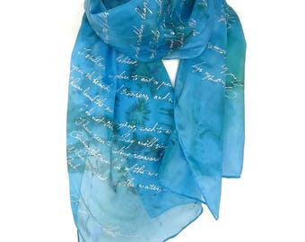 Mothers day gift Eliot lyrics Literature Scarf literary bookish Gift for book lyric lovers English Teacher Silk Hand Painted READY to Ship