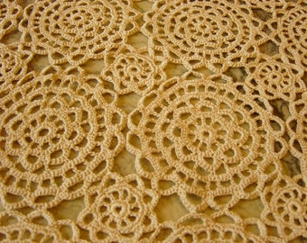 Incredible Vintage Hand Work Crochet SquareTablecloth Bedspread Throw