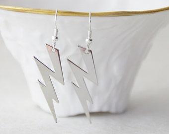Silver Lightning Bolt Earrings * Lightning Earrings * Rockstar Earrings * Christmas / D117