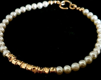 Pearl Bracelet, Stacking Bracelet, White Pearls Bracelet, Bridal Bracelet, Beaded Bracelet, Wedding Jewelry, Pearls Jewelry,Venexia Jewelry