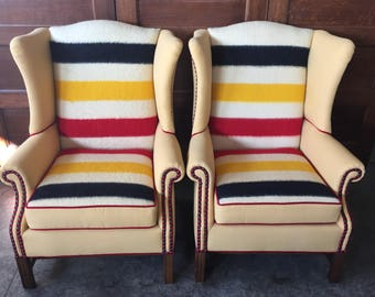 Pair of Fun Hudson Bay Wing Back Chairs