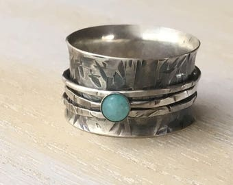 Amazonite Spinner Ring Size 9